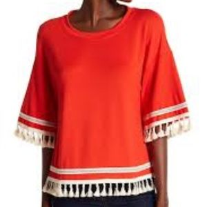 Harlow & Graham Pompom Applique Knit Top M Red
